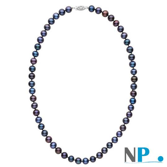 Collier 45 cm de perles d'eau douce noires multireflets