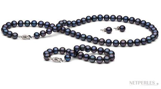 Parure 3 bijoux de perles de culture d'eau douce noires