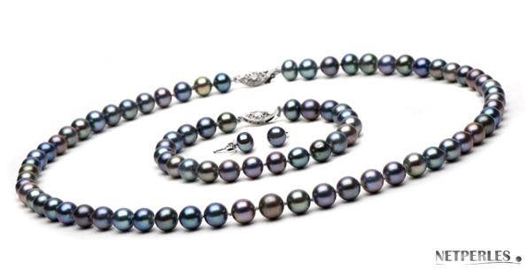 ensemble de trois bijoux assortis de perles noires d'eau douce netperles