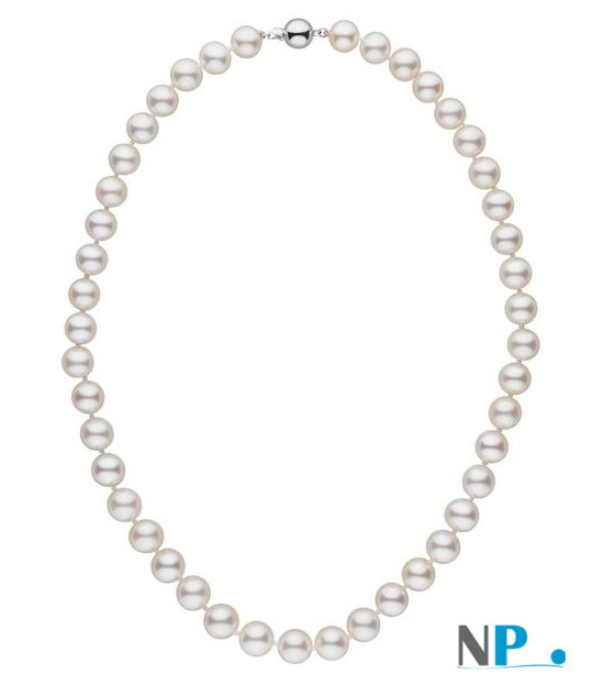 Collier 40 cm de perles de culture d'eau douce blanches de 8-9 mm AAA