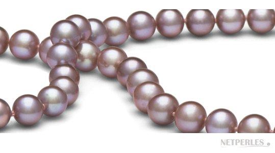Perles d'eau douce couleur naturelle lavande