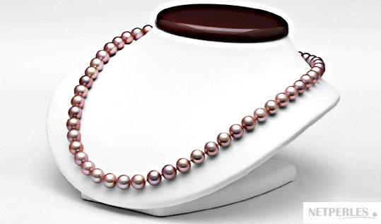 Collier de perles d'eau douce lavande