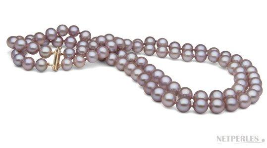 Collier double rang de perles d'eau douce lavande 8-9 mm