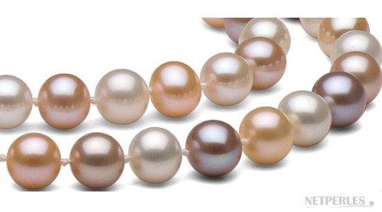 Perles de culture d'eau douce aux couleurs naturelles