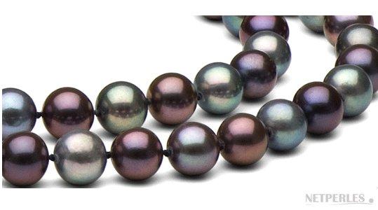 Perles noires d'eau douce multireflets
