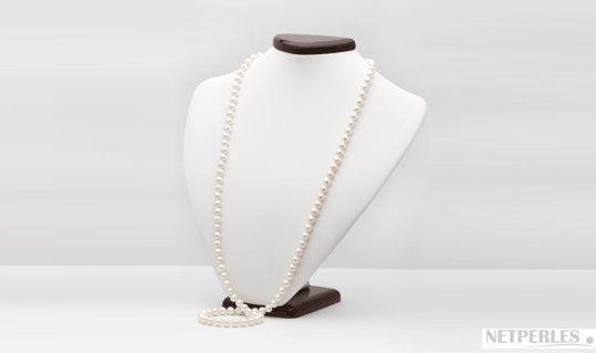 Perle d'eau douce blanches, sautoir 90 cm