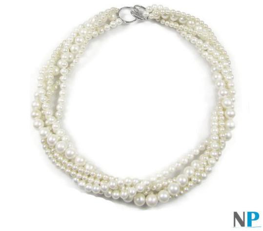 Torsade 5 rangs de perles d'eau douce blanches de 5,7 et 9 mm qualité AA+