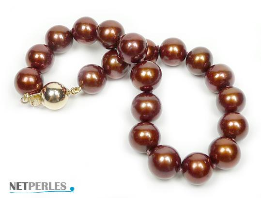 bracelet de perles de culture d'eau douce teintee chocolat