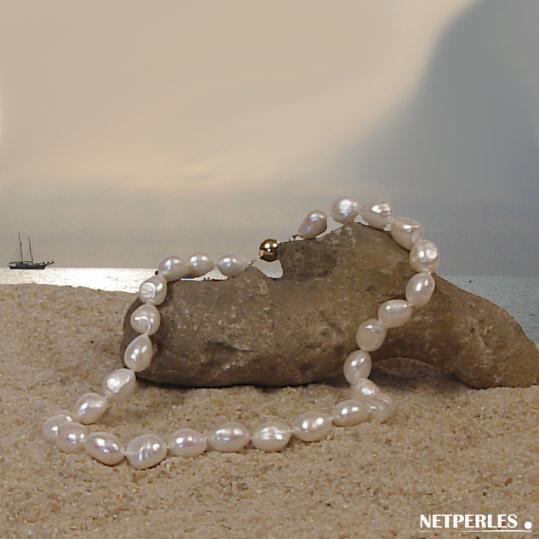 Collier de perles de culture d'eau douce blanches baroques de 9 à 13,5 mm de 45 cm