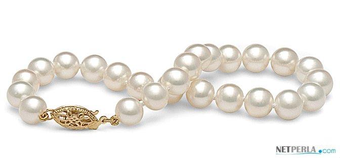 Bracelet de perles de culture d'eau douce blanches