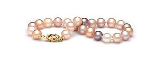 Bracelet de perles de culture d'eau douce multicolor