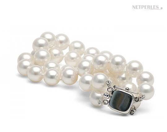 Bracelet double rang de perles d'eau douce