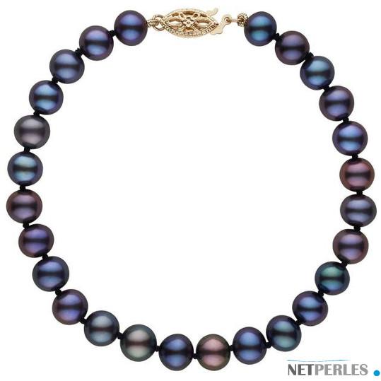 Bracelet de perles de culture d'eau douce noires , Or Jaune 14k