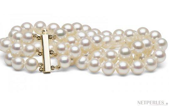 Bracelet triple rang de perles de culture d'eau douce