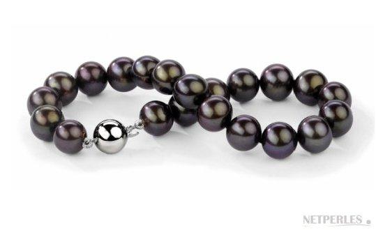 Bracelet 18 cm de perles de culture d'eau douce noires