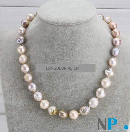 Collier de perles de culture d'Eau Douce baroques coloris métalliques