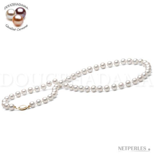 Collier de perles d'Eau Douce DOUCEHADAMA de 6,5 à 7,0 mm blanches