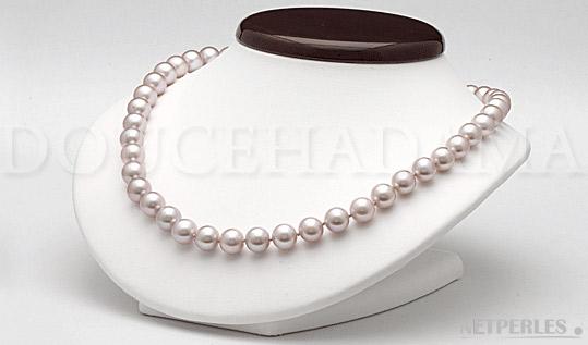 Collier de perles de culture d'Eau Douce lavande de 6,5 à 7,0 mm qualité DOUCEHADAMA