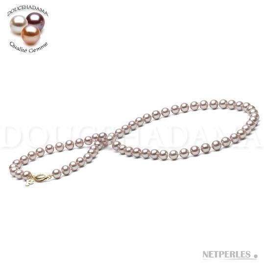 Collier de perles de culture d'Eau Douce Lavande qualité DOUCEHADAMA de 6,5 à 7,0 mm