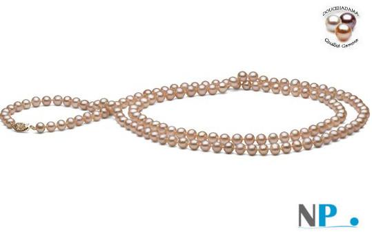 Sautoir 90 cm de perles d'eau douce DOUCEHADAMA couleur naturelle pêche