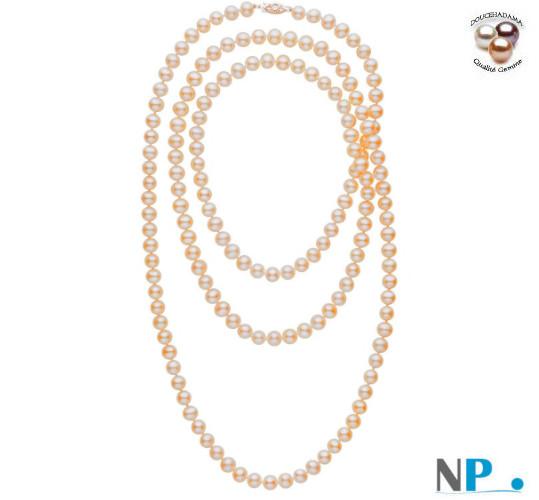 Sautoir130 cm de perles d'eau douce DOUCEHADAMA pêches