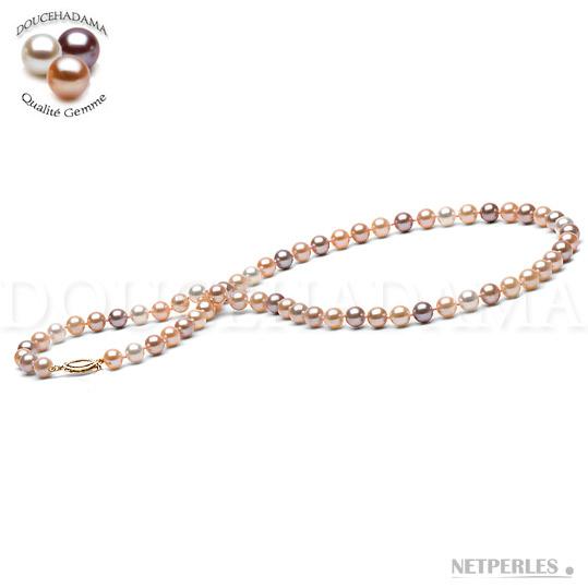 Collier de perles de culture d'Eau Douce qualité DOUCEHADAMA diametre 6,5 à 7,0 mm