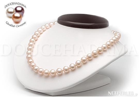 Collier de perles de culture d'eau douce qualité doucehadama de 7,5 à 8,0 mm couleur pêche de longueur de 45cm
