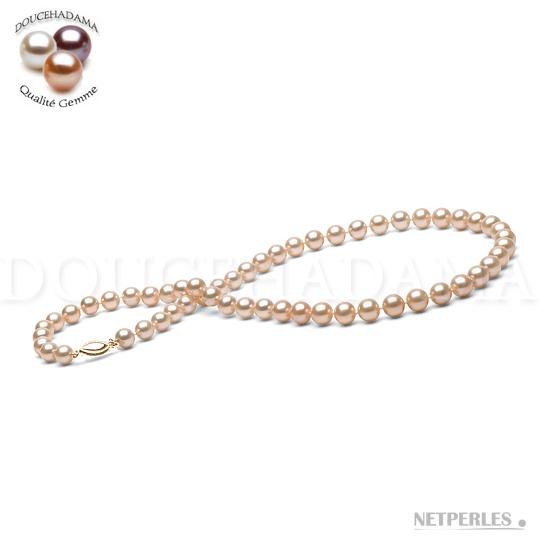 Collier de perles de culture d'eau douce qualité DouceHadama couleur pêche diamètre 7,5 à 8,0 mm longueur de 45 cm