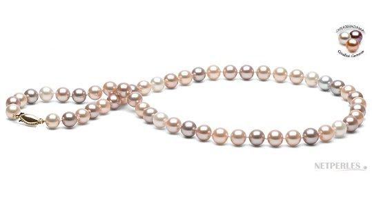Collier 45 cm de perles d'eau douce Doucehadama multicolores