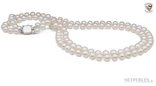 Collier double rang de perles blanches doucehadama
