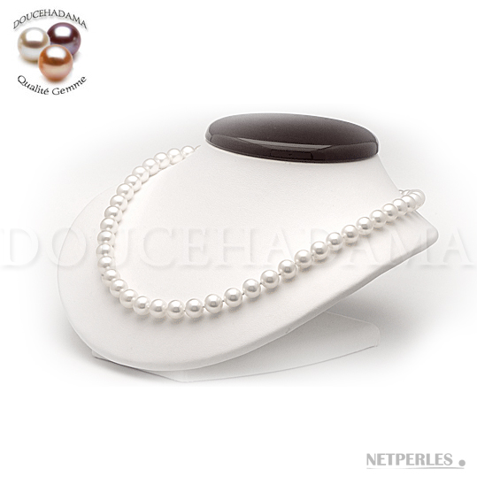 """Collier de perles de culture d'eau douce très haut de gamme """"doucehadama"""" blanches, de 8,5 à 9,0 mm"""