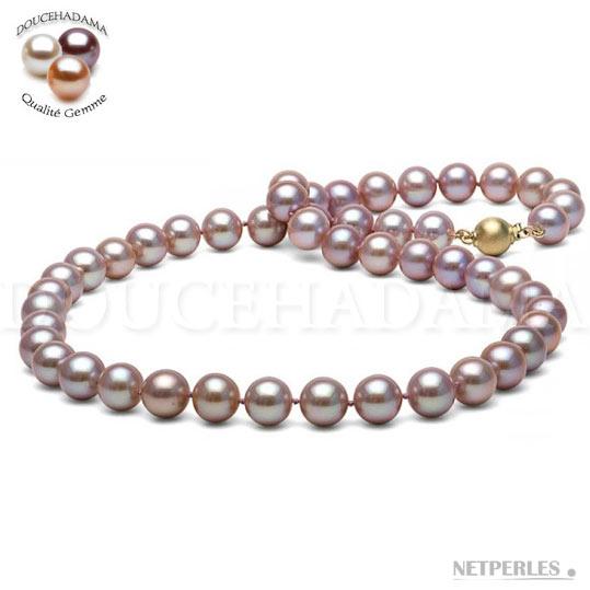 Collier de perles de 45 cm, couleur naturelle : Lavande, diamètre 8,5 à 9 mm, qualité Doucehadama