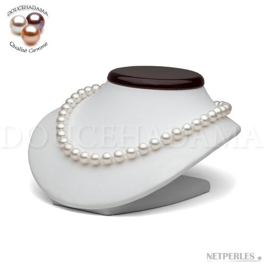 """Collier de perles de culture d'eau douce très haut de gamme """"doucehadama"""" blanches, de 9 à 9,5 mm"""