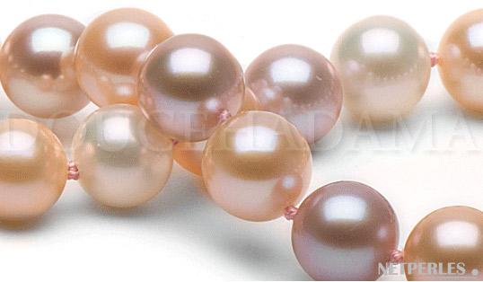 gros plan sur des perles d'eau douce multicolores qualité doucehadama