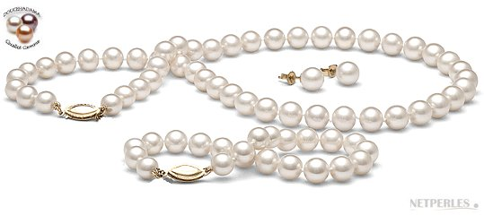 Parure 3 bijoux de perles d'eau douce Doucehadama