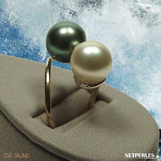 Bague toi et moi en or jaune ou gris 18 carats et diamants avec perles de culture de Tahiti et d'australie qualité AAA