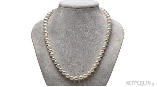 Collier de perles d'eau douce blanches aux reflets métalliques AAA