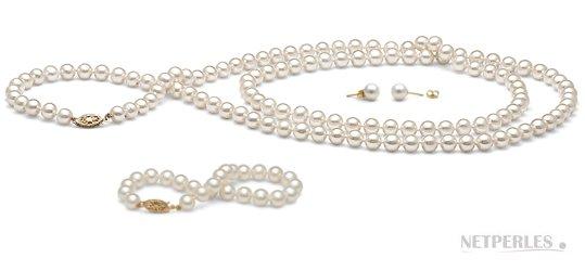 Parure de perles d'eau douce blanches: sautoir, bracelet et boucles d'oreilles