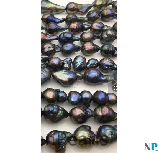 Rangs de perles Edison Baroques noires d'eau douce de Chine