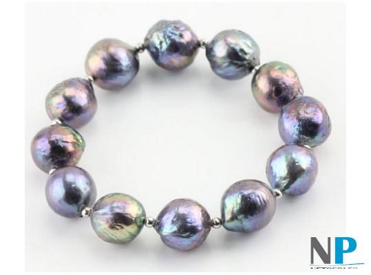 Bracelet de perles de culture d'Eau Douce Kasumi noires avec billes en argent monté sur élastique