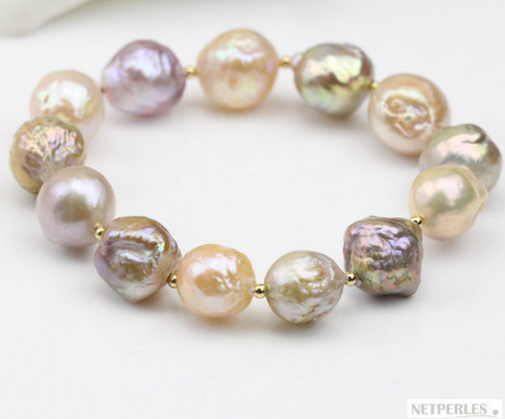 Bracelet de perles de culture d'Eau Douce baroques coloris pêche, lavande, ivoire