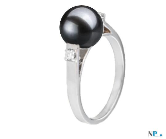 Bague en Argent 925 diamants et perle de culture d'Eau Douce AAA noire