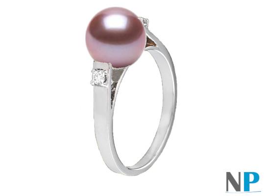 Bague en Argent 925 diamants et perle de culture d'Eau Douce DOUCEHADAMA lavande
