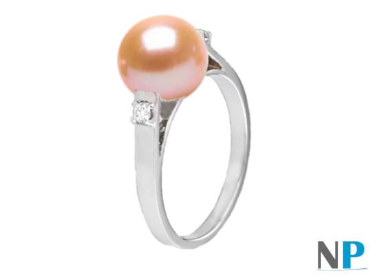 Bague en Argent 925 diamants et perle de culture d'Eau Douce DOUCEHADAMA pêche
