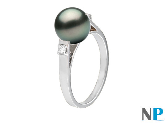 Bague en Argent 925 avec perle de Tahiti 8-9 mm AAA