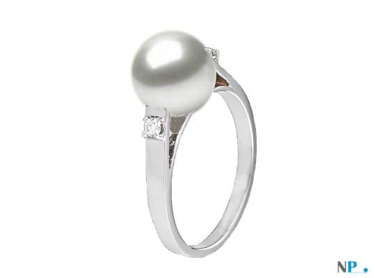 Bague en Argent 925 diamants et perle de culture d'Eau Douce DOUCEHADAMA