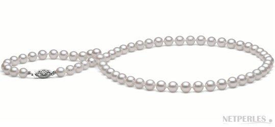 Collier de perles d'Akoya blanches