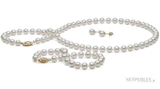 Parure 3 bijoux de perles de culture d'Akoya