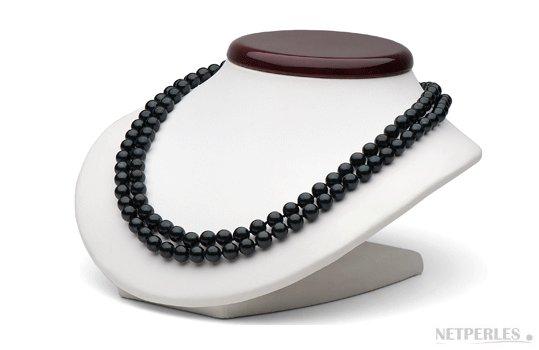Double rang de perles d'Akoya noires