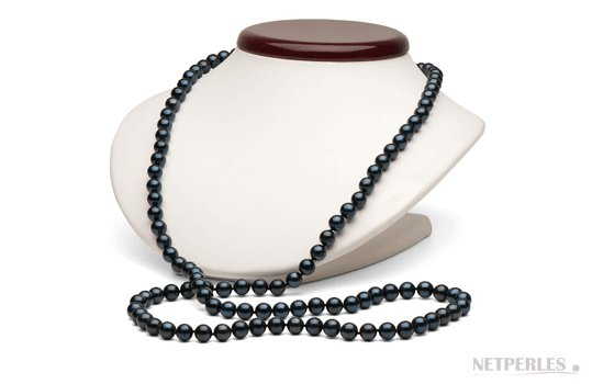 Sautoir de perles d'Akoya noires